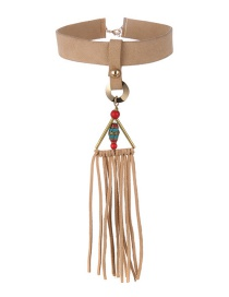 Fashion Beige Triangle Leather Fringed Necklace