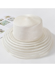 Fashion White Big Pot Lid Curved Sun Hat