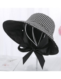 Fashion Black Lace-up Plaid With Fisherman Hat On Both Sides Cap