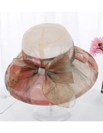 Fashion Beige Bow Color Matching Flower Cloth Big Hat