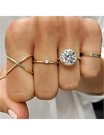 Fashion Gold Diamond Geometry Cross Ring Set Of 5