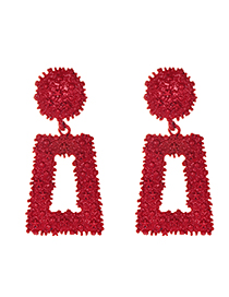 Fashion Red Alloy Rectangular Earrings