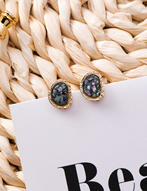 Fashion Green Ellipse Hollowed Acetic Acid Sequins S925 Silver Needle Stud Earrings