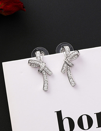 Fashion Silver 925 Silver Needle Bow Stud Earrings