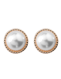 Fashion Pearl 925 Silver Pin Pearl Button Earrings