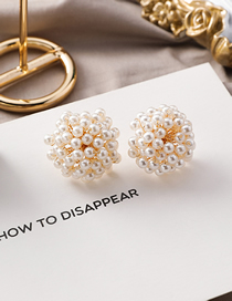 Fashion Pearl 925 Silver Needle Hemispherical Transparent Pearl Crystal Stud Earrings