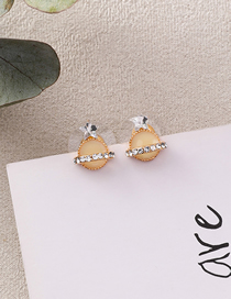 Fashion Beige 925 Silver Needle Planet Stud Earrings