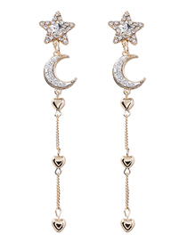 Fashion Gold 925 Silver Needle Star Moon Tassel Earrings