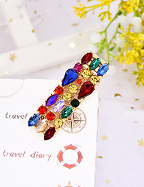 Fashion Color Alloy Water Drop Drill Double Row Hair Clip