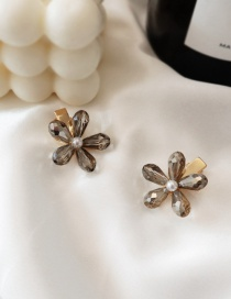 Fashion Gray/single Crystal Flower Hair Clip