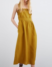 Fashion Ginger Yellow Cotton And Linen Dress