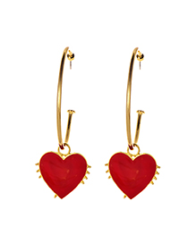 Fashion Red Alloy Circle Love Earrings