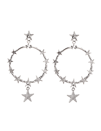 Fashion Silver Alloy Five-pointed Star Circle Earrings