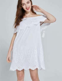 Fashion White One-neck Embroidery Dress