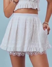 Fashion White Jacquard Lace Shorts