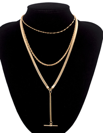 Fashion Gold Geometric Multilayer Metal Necklace