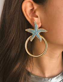 Fashion Blue Geometric Starfish Painting Oil Circle Stud Earrings