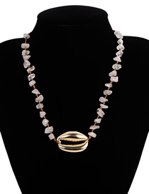 Fashion Pink Natural Stone Large Shell Necklace