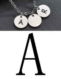 Fashion Steel Color A Letter Corrosion Dripping Round Medal Pendant