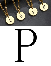 Fashion Golden P Letter Corrosion Dripping Round Medal Necklace