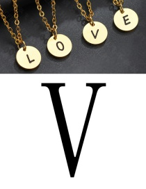 Fashion Golden V Letter Corrosion Dripping Round Medal Pendant