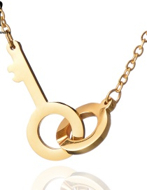 Fashion Gold Double Ring Round Key Necklace