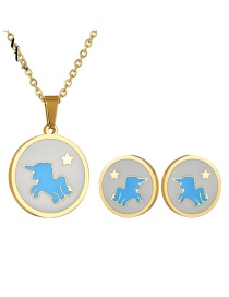 Fashion Gold 18k Gold Star Unicorn Necklace Earrings Set