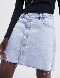Fashion Blue Button Denim Skirt