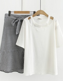 Fashion Black And White Irregular Plaid Skirt + Vertical T-shirt