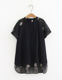 Fashion Black Embroidered Stitching Fake Two-piece T-shirt