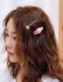 Fashion Light Pink Oil Drop Hairpin