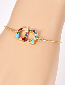 Fashion B Gold Copper Inlaid Zircon Letter Bracelet