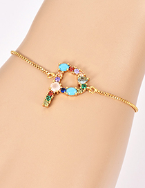 Fashion P Gold Copper Inlaid Zircon Letter Bracelet