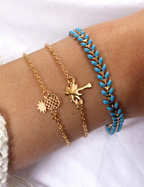 Fashion Gold Pineapple Coco Leaf Bracelet Set Of 3