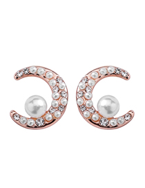 Fashion Rose Gold S925 Silver Needle Moon Planet Pearl Zircon Asymmetrical Earrings