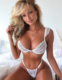 Fashion White Deep V Lace Temptation Three-point Suit