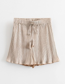 Fashion Gold Wooden Ear Pleated Wide-leg Shorts