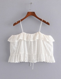 Fashion White Embroidered Ruffled Shirt