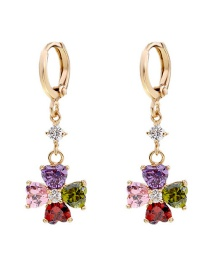Fashion Color Copper Inlaid Zircon Flower Earrings