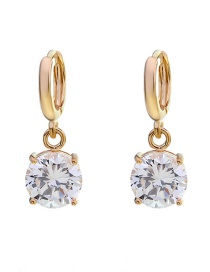 Fashion Gold Copper Inlaid Large Zircon Earrings
