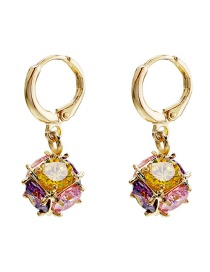 Fashion Gold Copper Inlaid Zircon Ball Plating Earrings