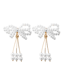 Fashion Pearl Tassel 925 Silver Needle Fringe Asymmetric Earrings
