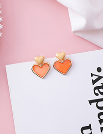 Fashion Orange (love) 925 Silver Needle Drip Transparent Earrings