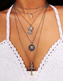 Fashion Silver Alloy Flower Cross Five Layer Necklace