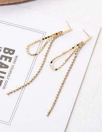 Fashion Gold Chain-studded Rhinestone Earrings