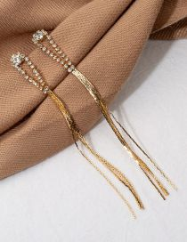 Fashion Gold Diamond Tassel Earrings