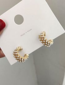 Fashion Gold C-shaped Pearl Earrings