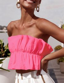 Fashion Red Pleated Strapless Backless Word Collar Tube Top