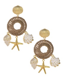 Fashion Gold Alloy Braided Wax Rope Shell Starfish Conch Earrings