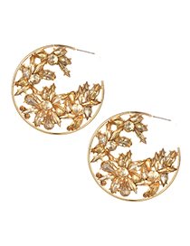 Fashion Champagne Alloy Diamond Round Earrings
